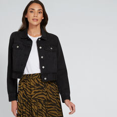 Cropped Denim Jacket  WASHED BLACK  hi-res