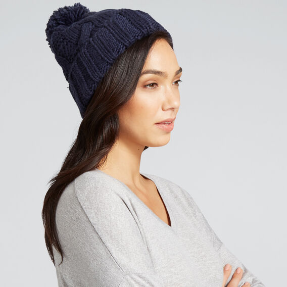 Pom Pom Cable Beanie  NAUTICAL BLUE  hi-res