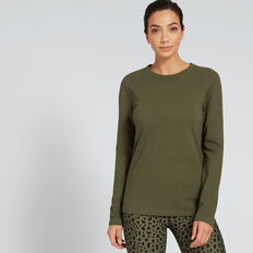 Long Sleeve Slim Basic Tee  DARK KHAKI  hi-res