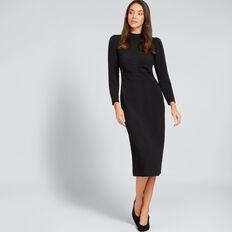 Jacquard Drape Sleeve Dress  BLACK  hi-res