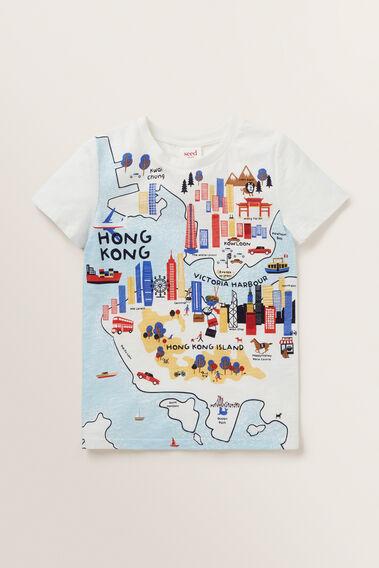 HONG KONG MAP TEE  VINTAGE WHITE  hi-res