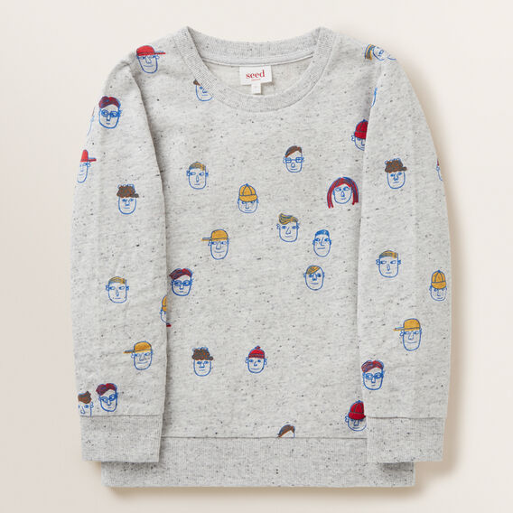 Face Print Windcheater  CLOUDY MARLE  hi-res