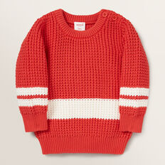 Knitted Stripe Crew Sweater  FIRE ENGINE RED  hi-res