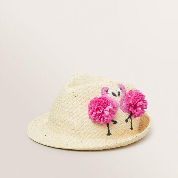 Pom Pom Flamingo Fedora  NATURAL  hi-res