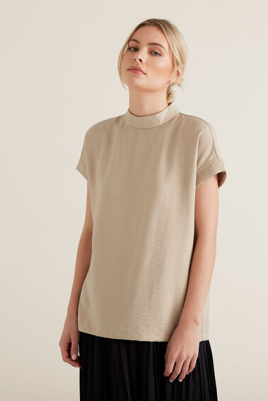 Mock Neck Top  NEUTRAL BEIGE  hi-res