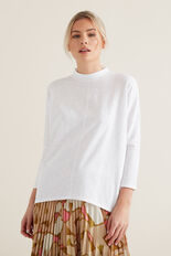 Mock Neck Slub Top  WHISPER WHITE  hi-res