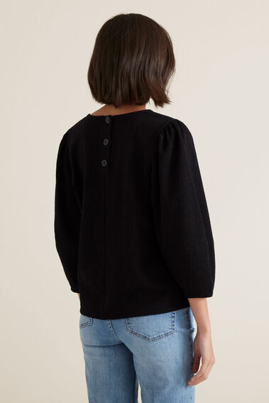 Sleeve Seam Detail Top  BLACK  hi-res