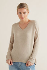 Drapey V Neck Top  DESERT MARLE  hi-res