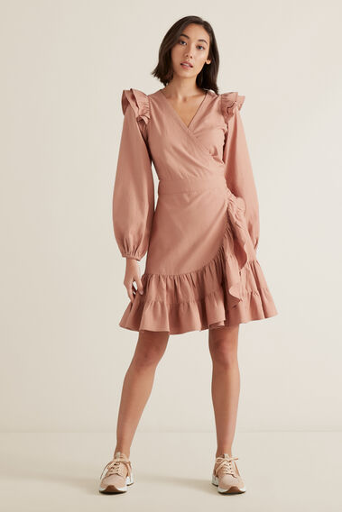 Wrap Front Frill Dress  ROSE BLUSH  hi-res