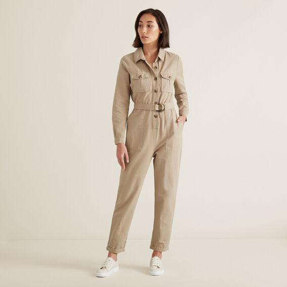Button Through Jumpsuit  NEUTRAL BEIGE  hi-res