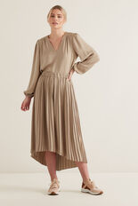 Hi-Lo Pleated Skirt  NEUTRAL BEIGE  hi-res
