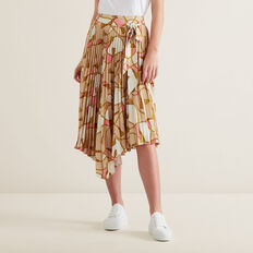 Asymmetric Pleat Skirt  SCARF PRINT  hi-res