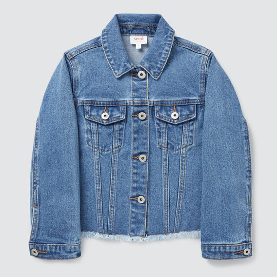 Exposed Hem Denim Jacket  VINTAGE BLUE WASH  hi-res