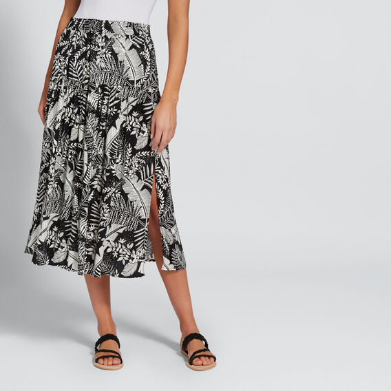 Split Floral Skirt  PALM PRINT  hi-res