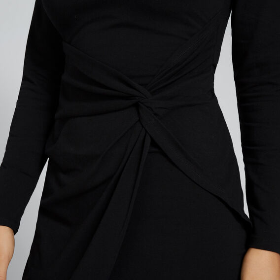 Asymmetric Twist Dress  BLACK  hi-res