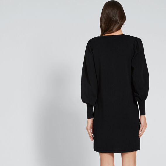 Blouson Sleeve Knit Dress  BLACK  hi-res