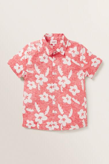 Retro Floral Shirt  FIRE ENGINE RED  hi-res