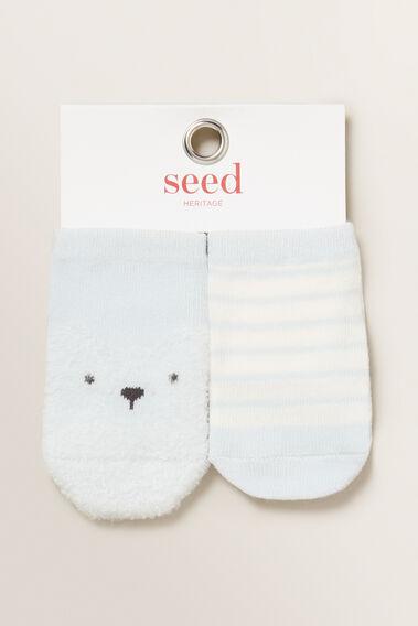 Fluffy Bear Socks  BLUE  hi-res