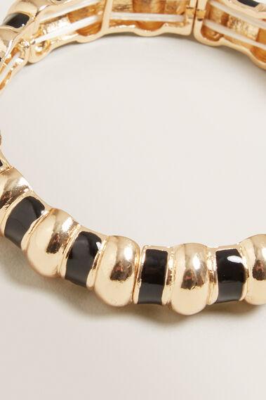 Enamel Stretch Bracelet  GOLD/BLACK  hi-res