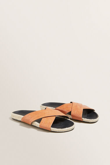 Chloe Cross Over Slides  TAN  hi-res