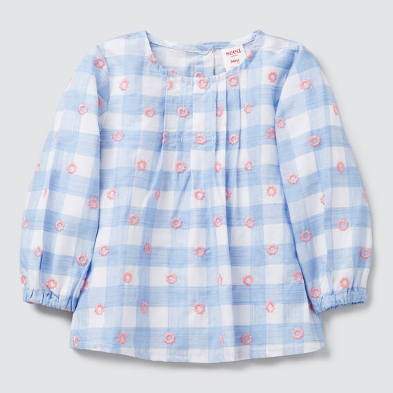 Daisy Gingham Top  PERIWINKLE  hi-res