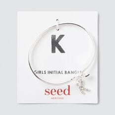 Silver Initial Bangle  K  hi-res