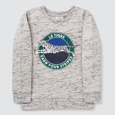 Sporty Print Sweater  GREY SPACE DYE  hi-res