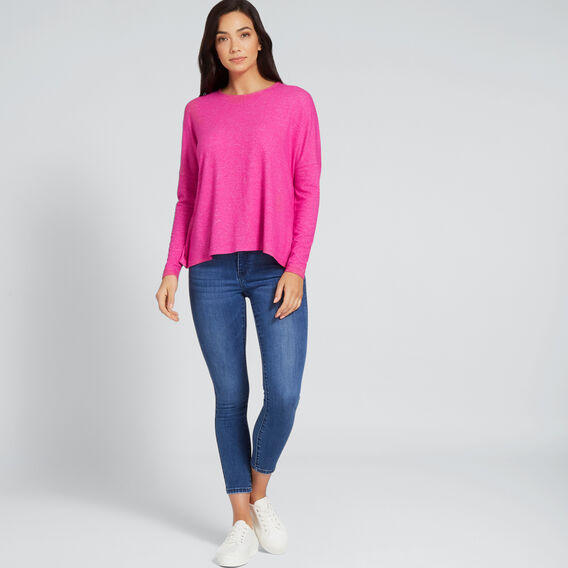 Scoop Neck Top  BOLD FUCHSIA MARLE  hi-res