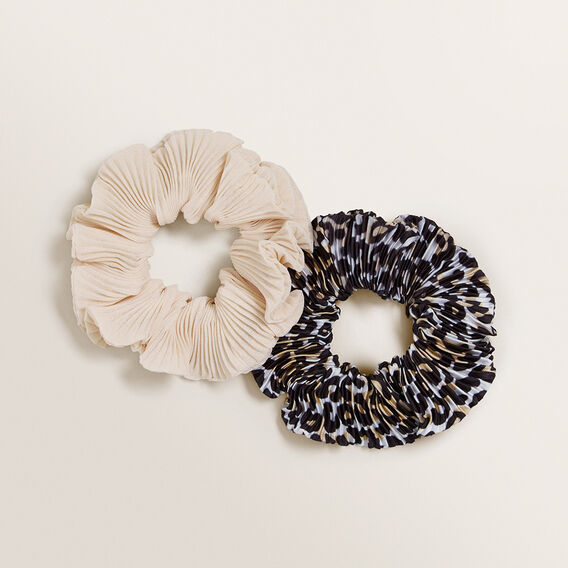 Crinkle Scrunchie Pack  LEOPARD CREAM  hi-res