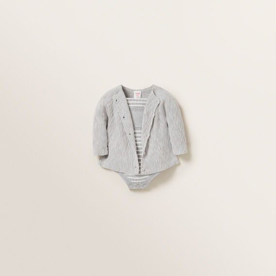 Slub Knitted Cardigan  BIRCH MARLE  hi-res