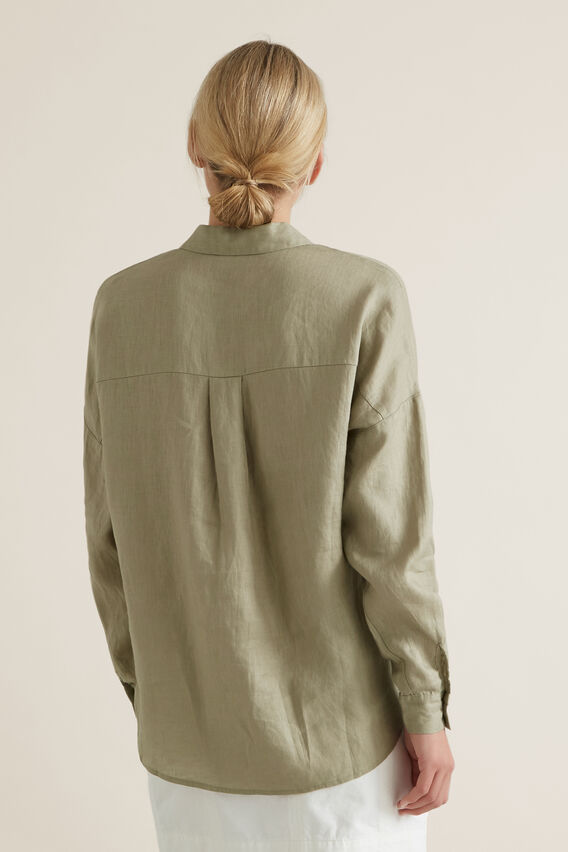 Classic Linen Shirt  WASHED OLIVE  hi-res