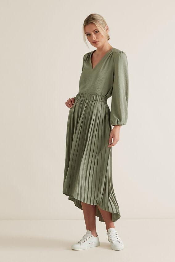 Hi-Lo Pleated Skirt  WASHED OLIVE  hi-res