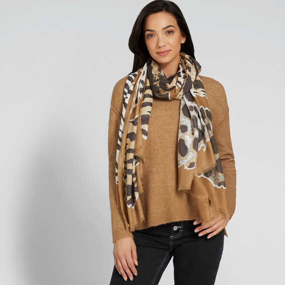Animal Print Scarf  GINGERBREAD/BLACK  hi-res