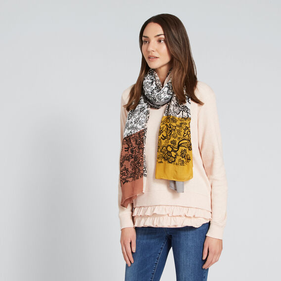 Patchwork Floral Scarf  CLOUD CREAM MULTI  hi-res