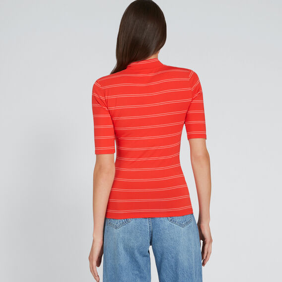 High Neck Stripe Tee  FIERY RED/CREAM  hi-res
