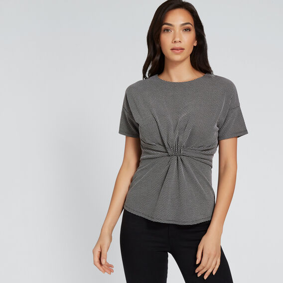 Twist Front Textured Top  MONO JACQUARD  hi-res