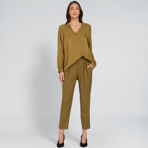 Pleat Detail Pant  DARK KHAKI  hi-res