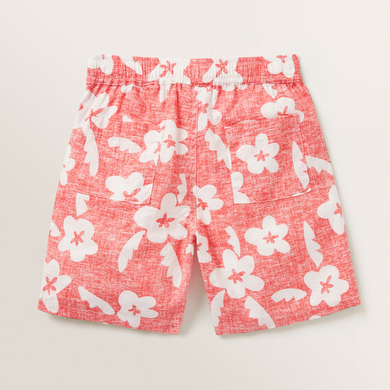 Retro Floral Short  FIRE ENGINE RED  hi-res