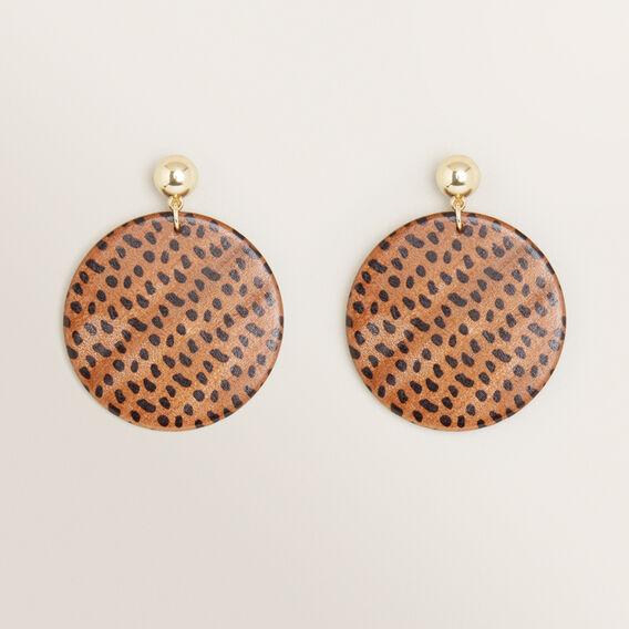 Spot Disk Earrings  BROWN  hi-res