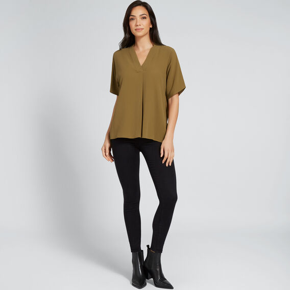 Textured Blouse  DARK KHAKI  hi-res