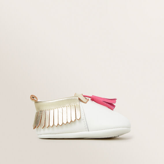 Leather Tassel Mocassin  WHITE  hi-res