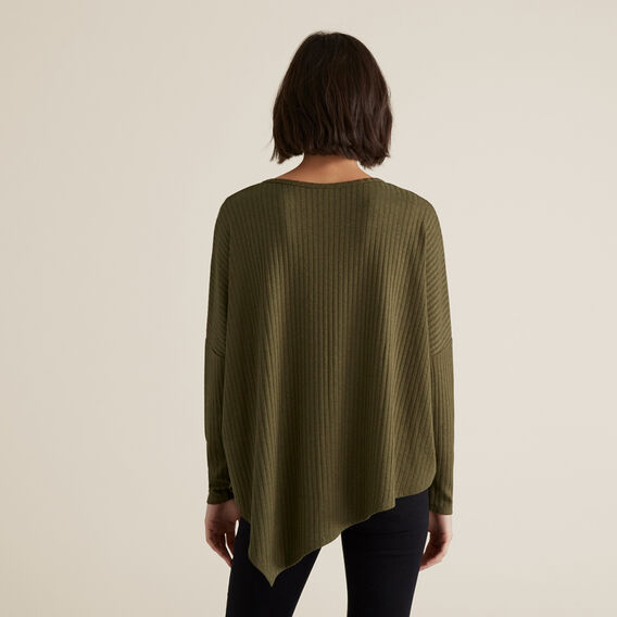 Ribbed Asymmetrical Sweater  RICH OLIVE  hi-res