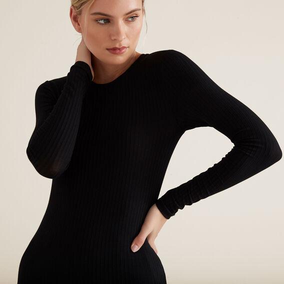 Long Sleeve Rib Top  BLACK  hi-res