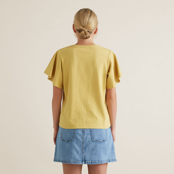 Flutter Sleeve Tee  DUSTY MARIGOLD  hi-res
