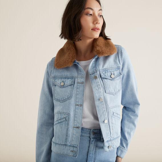 Faux Fur Denim Jacket  PASTEL DENIM WASH  hi-res