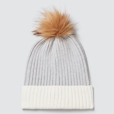 Rib Knit Pom Pom Beanie  CLOUD  hi-res