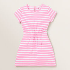 Clinched Waist Dress  PINK BLUSH/WHITE  hi-res