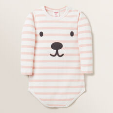 Novelty Stripe Rib Bodysuit  PRETTY PINK  hi-res