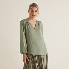 Gathered V Neck Blouse  WASHED OLIVE  hi-res