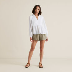 Textured Flowy Blouse  WHISPER WHITE  hi-res